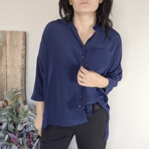 ANNE FONTAINE Perdy silk crepe blouse blue 0585